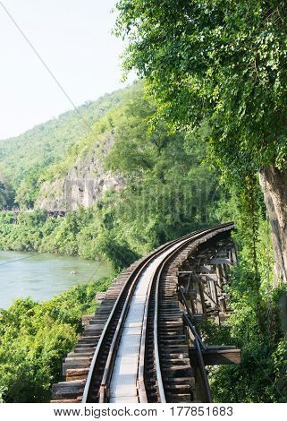 Railroad track kanchanaburi thailand.Railway Thailand. It is classical railway.  Railroad