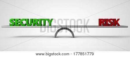 security risk balance concept 3d illustration rendr
