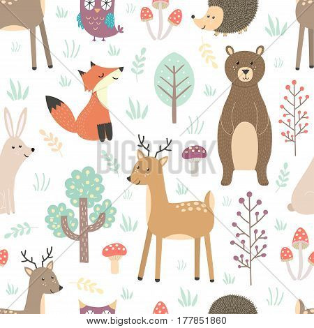 Forest seamless pattern with cute animals - fox, deer, bear, rabbit, hedgehog and owl. Vector illustration