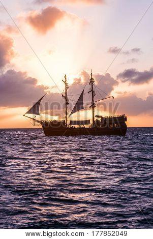 Sailing yacht cruise on a catamaran across the Caribbean Sea