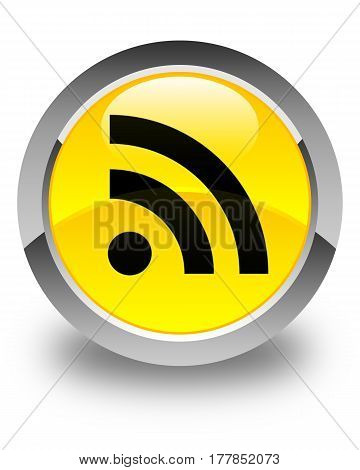 Rss Icon Glossy Yellow Round Button