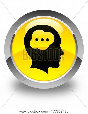 Brain Head Icon Glossy Yellow Round Button
