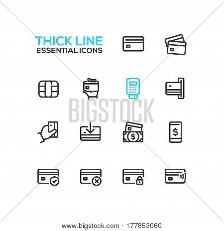 Finance - modern vector single thick line icons set. Credit card, microchip, hand, registrator, dollar bill, mobile device, check, denial, lock