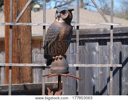 A scarecrow-type owl in a back yard garden.