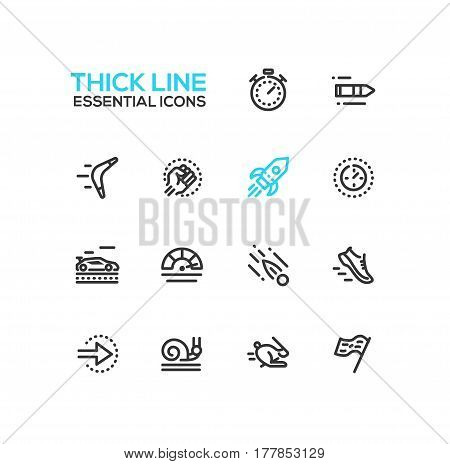 Speed - modern vector single thick line icons set. Timer, bullet, boomerang, fist, rocket, meter, car, sneaker, arrow, snail, rabbit, flag