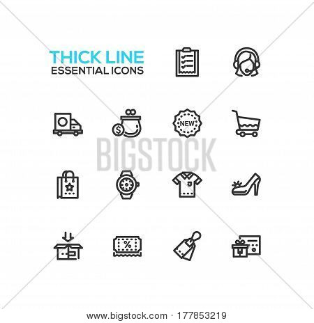 Shopping - modern vector line design icons set. Check-list, support, delivery, purse, label, cart, bag, watches, shirt shoes box discount sale gift voucher