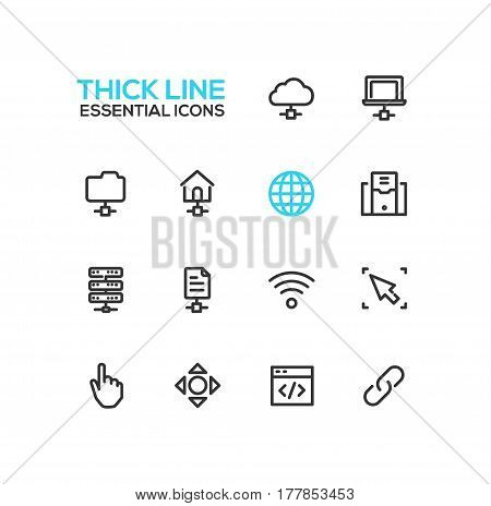 Network Data - modern vector single thick line icons set. Network, cloud, laptop, folder, house, globe, computer, drive, file, wifi, cursor, hand, arrow, window, joint