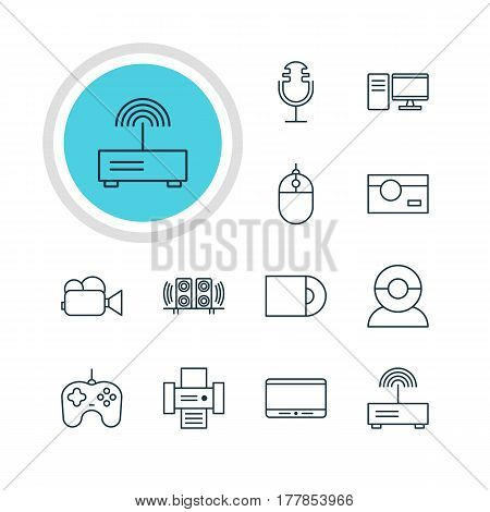 Vector Illustration Of 12 Technology Icons. Editable Pack Of Sound Recording, Camcorder, Loudspeaker And Other Elements.