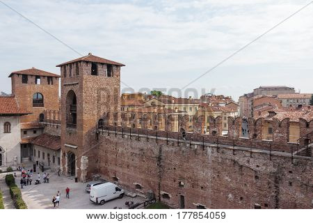 View From The Fortress Wall To Castelvecchio Castle