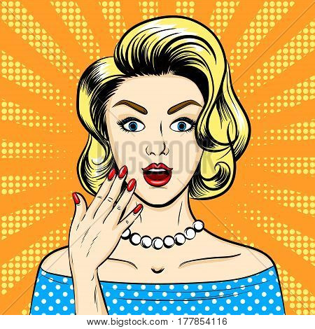 Surprised woman pop art retro vector illustration. Comic book style imitation.