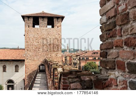 Fortress Wall And Watchtower Above Entrance To In Castelvecchio Castle