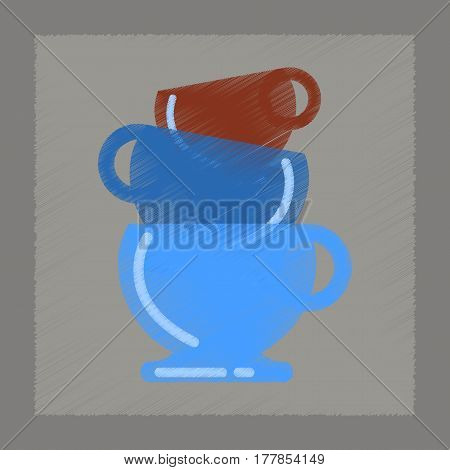 flat shading style icon coffee three cups