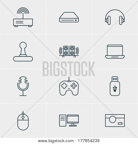 Vector Illustration Of 12 Hardware Icons. Editable Pack Of Headset, Memory Storage, PC And Other Elements.