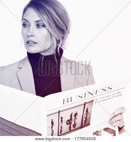 Business Woman Read Hands Hold Newspaper Studio