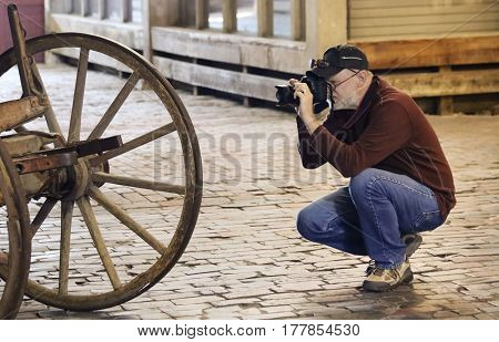 FORT WORTH, TEXAS, MARCH 15. The Fort Worth Stockyards on March 15, 2017, in Fort Worth, Texas. A Photographer Shoots the Fort Worth Stockyards historic district in Fort Worth, Texas.