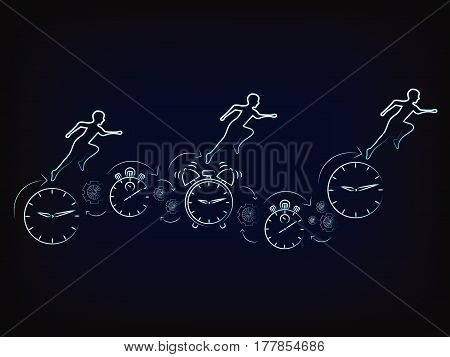 vector of people running on clocks, stopwatches, alarms & gearwheels (mesh background) concept of time management