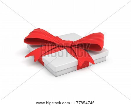 3d rendering of white flat gift box with a red ribbon bow in side top view. Giving presents. Celebration. Promotions and sales.