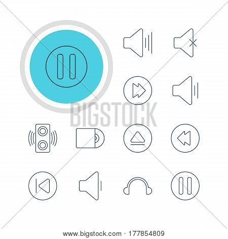 Vector Illustration Of 12 Melody Icons. Editable Pack Of Amplifier, Lag, Rewind And Other Elements.