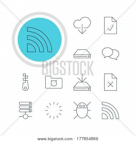 Vector Illustration Of 12 Network Icons. Editable Pack Of Checked Note, Computer Virus, Privacy Doc And Other Elements.