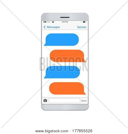 Messaging  smartphone with  empty dialog bubbles . Dialog boxes with space for text