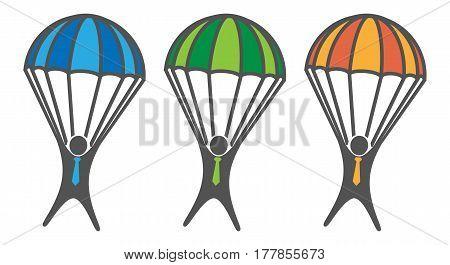 Businessman on Parachute. A Business insurance concept
