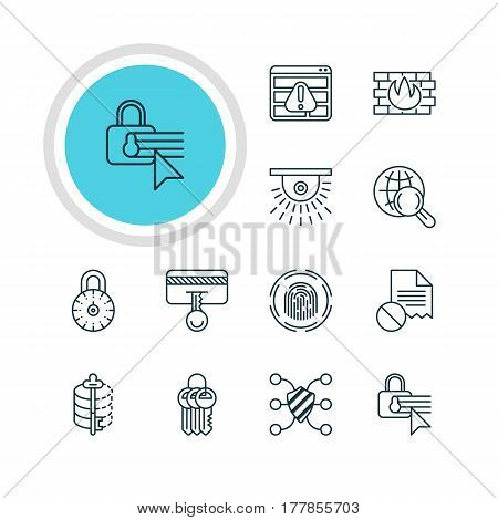 Vector Illustration Of 12 Data Icons. Editable Pack Of Safeguard, Key Collection, Network Protection And Other Elements.