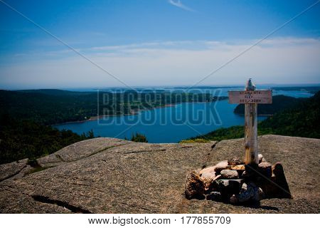 Acadia Mountain Summit Marker