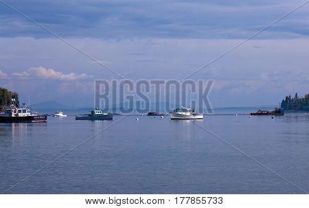 Boats On Ocean At Bar Harbor Maine