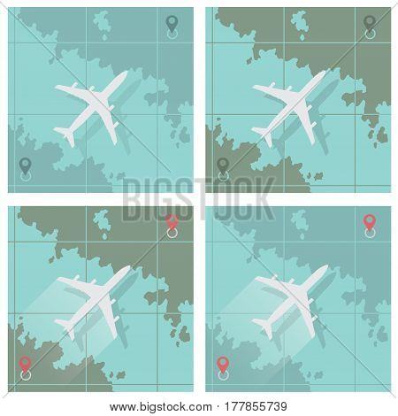 Vector illustration depicting four images consisting of an airplane and a map