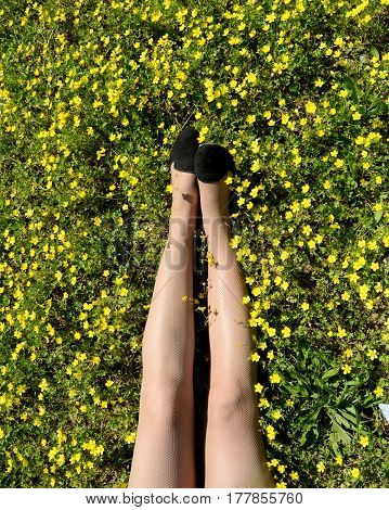 Woman legs surrounded by yellow flowers and grass