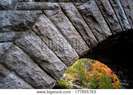 Detail Of Arched Stone Bridge At Acadia National Park