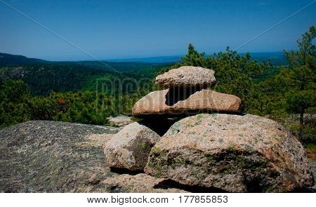 Stone Cairn On Mountain In Acadia National Park