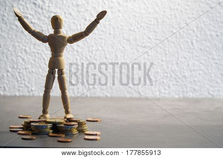 rich mannequin, puppet, is happy about his money