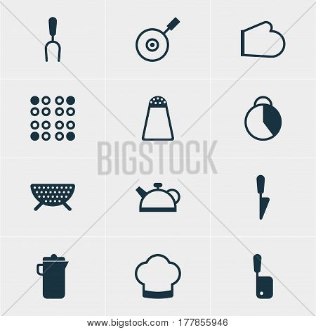 Vector Illustration Of 12 Kitchenware Icons. Editable Pack Of Sieve, Skillet, Oven Mitts And Other Elements.