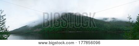 Fog Over The Bubbles At Jordan Pond In Acadia National Park
