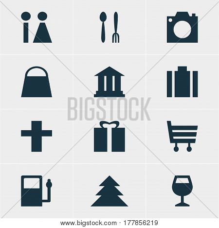 Vector Illustration Of 12 Check-In Icons. Editable Pack Of Shopping Cart, Wineglass, Toilet And Other Elements.