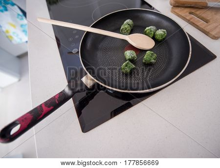 Pan ready for making food in kitchen