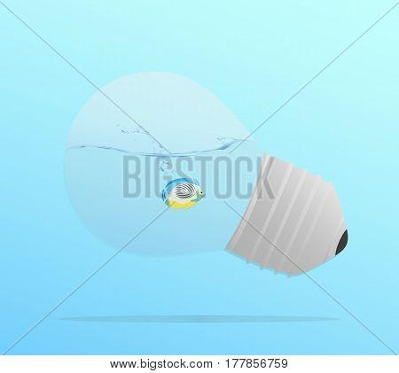 A goldfish swimming in a bulb shaped aquarium