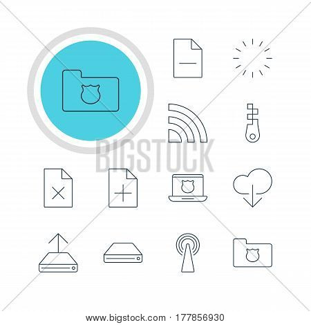 Vector Illustration Of 12 Internet Icons. Editable Pack Of Wireless Network, Delete Data, Secure Laptop And Other Elements.