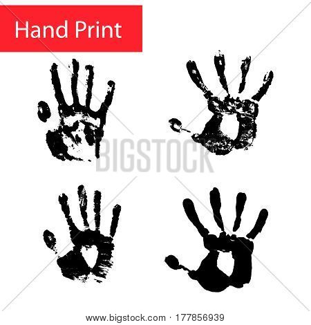Hand print vector set. Hand print relief of skin.