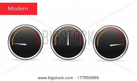 Download speed tachometer icon. Vector  speed sensor. Low and high download speed  ui element.