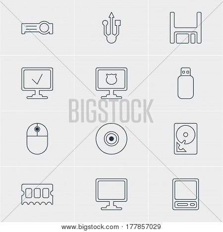 Vector Illustration Of 12 Notebook Icons. Editable Pack Of Online Computer, Memory Chip, Presentation And Other Elements.