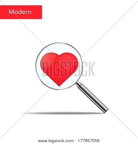 Search love illustration. Heart and magnifier. Find your love vector concept.