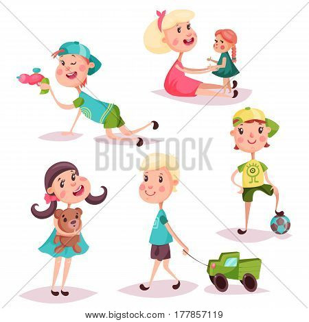 Boys and girls, cartoon children or kids playing with alien laser gun and doll, holding air balloon and fluffy teddy bear, car or lorry and soccerball. Set of isolated schoolchildren at playtime, childhood theme