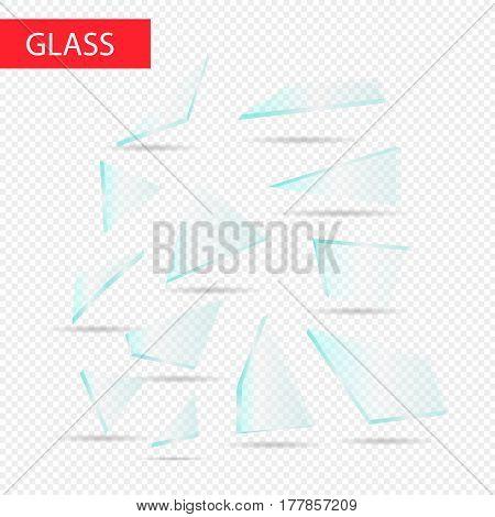 Glass pieces vector. Transparent glass. Bitten glass