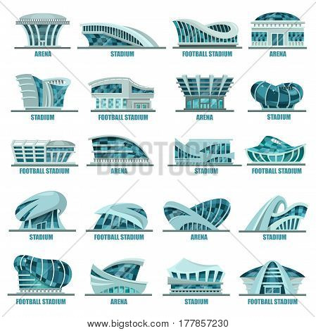 Set of modern glassware football stadiums or sport arena buildings, soccer constructions and athletic fields architecture, place for sport games and tournaments exterior view. Futuristic buildings