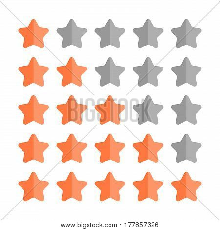 5 star rating set. Simple rounded shapes in grey and orange.