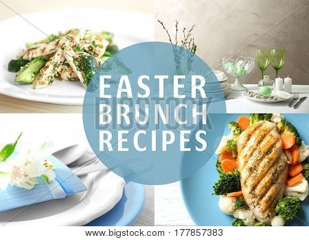 Text EASTER BRUNCH RECIPES on background. Collage of delicious food for festive dinner