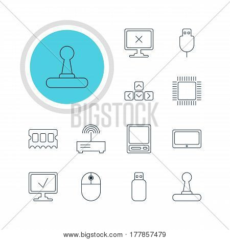 Vector Illustration Of 12 Notebook Icons. Editable Pack Of Microprocessor, Online Computer, Keypad And Other Elements.