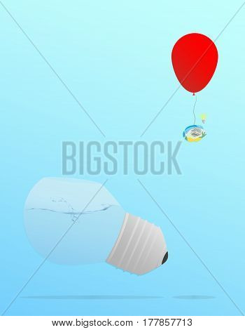 A goldfish escape from a bulb shaped aquarium